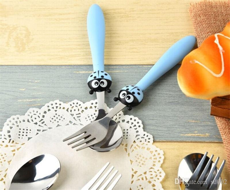 Stainless Steel Fork Spoon Set Travel Portable Dinnerware Cartoon Ladybug Children Tableware Multi Color 4 51yy C R