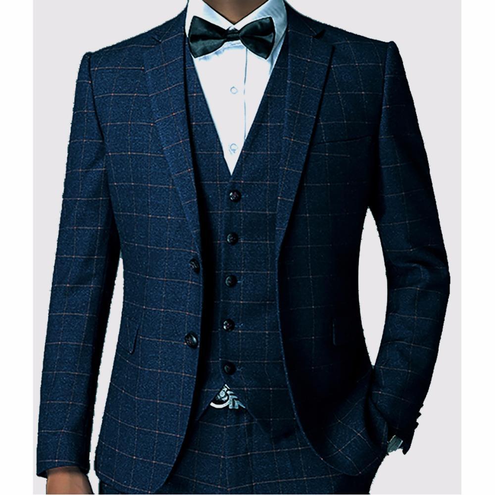 Compre Traje De Hombre A Cuadros Azul Oscuro Trajes De Cuadros A Medida Para  Hombres 4b3c5b174295