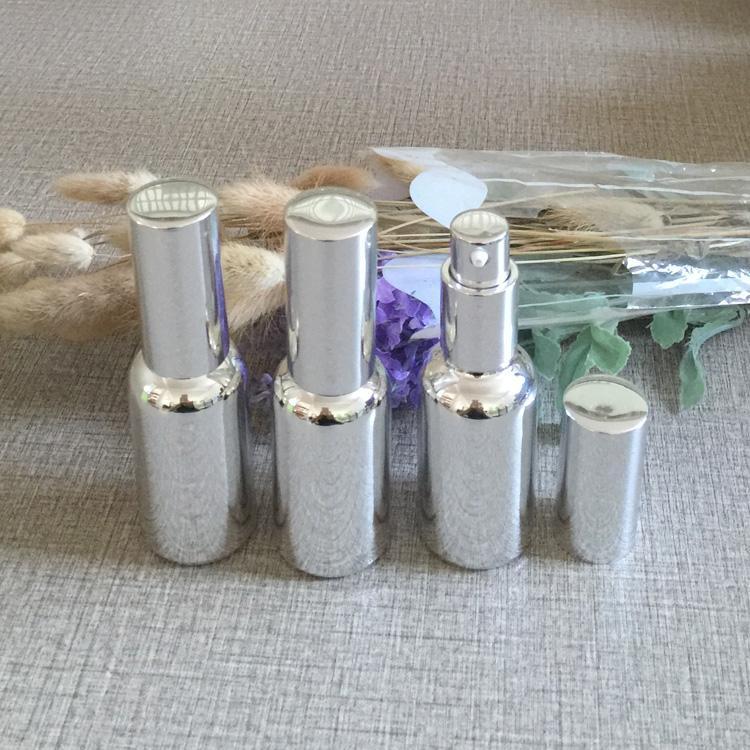 1 oz de botella de loción de vidrio vacía, botellas de loción de vidrio a granel de 30 ml al por mayor, botellas de bomba de loción de vidrio de color plata