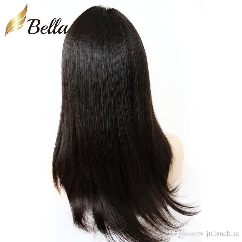 Peluca de cabello humano recto suave y dulce para estudiantes Entradas naturales sin cola Pelucas de encaje completas Pelucas delanteras de encaje con cabello de bebé para mujeres