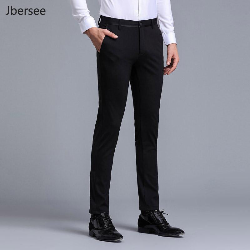 380075bbbbad58 Compre Hombres De La Marca Pantalones De Vestir Pantalones Formales Slim Fit  Traje De Negocios Informal Hombres De La Boda Negro Vestido Para Hombre ...