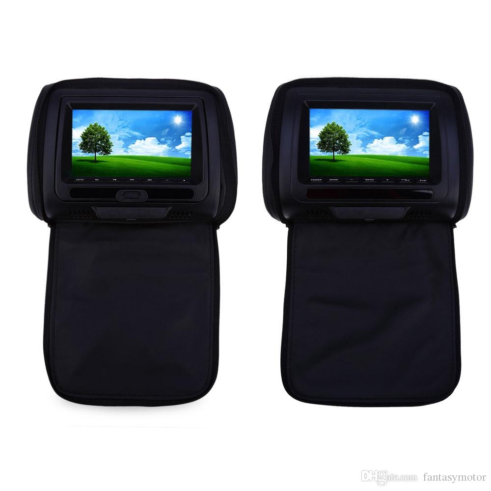 2019 Universal Paired 7 Inch Car Headrest DVD Player 800 X 480 High Resolusion LCD Backseat Monitor With FM Transmitter Function Remote Control From