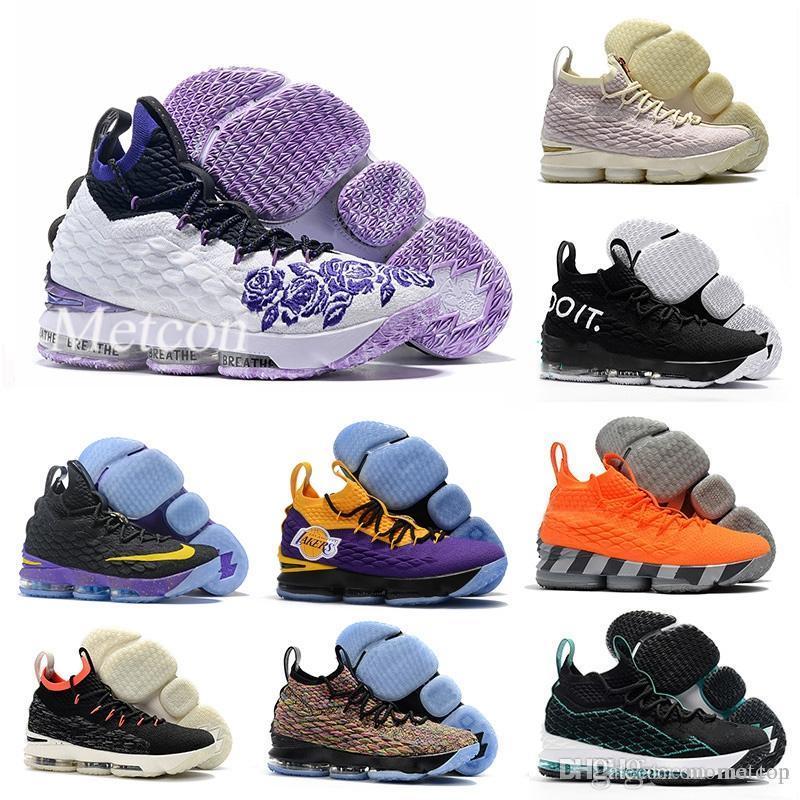 6e9240e1fd0 Satın Al 2018 Mor Yağmur Lebron 15 Lakers Parlak Crimson Basketbol  Ayakkabıları Lebrons 15 S Griffey Dört Süvari Turuncu Erkek Eğitmenler Spor  Sneakers