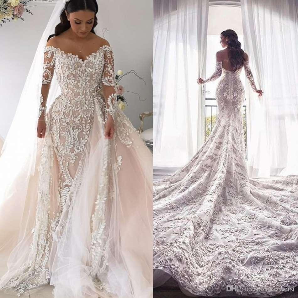 fffe04ece043 Vestido Para Noivas Lindo Sereia 2019 Lace Vestidos De Casamento Com  Destacável Trem Off Ombro Vestidos De Noiva De Manga Longa Africano Vestidos  Robes De ...