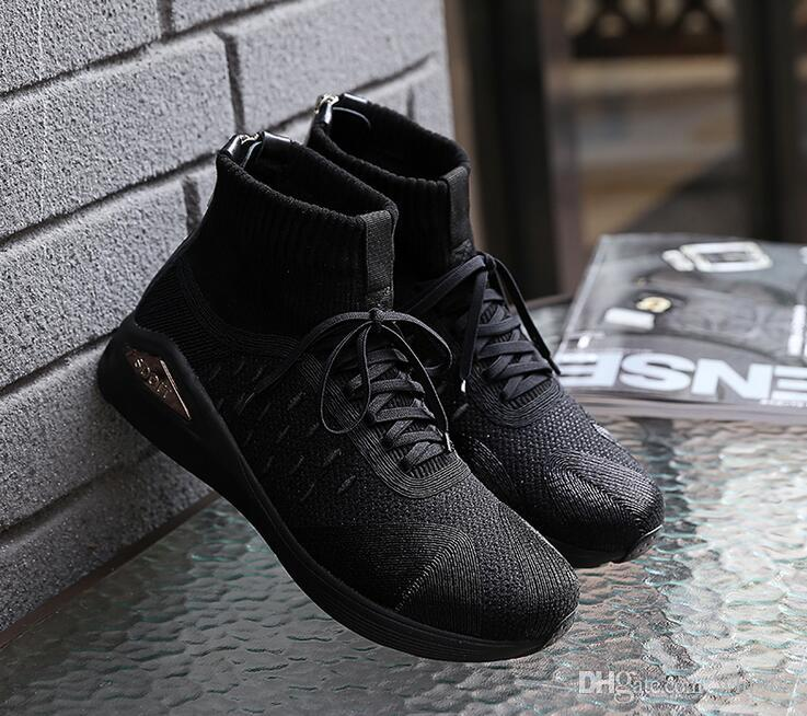 High quality New Style Black Men's Cushion Sneakers Ankle Boots Maxes Hight Top Work Boots Shoes Shoe size 38~44