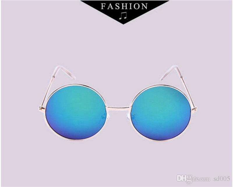 Classic Round Box Trend Designer Sunglasses Mujeres Metal Full Frame Reflexivo Universal Frog Mirror Hombres Luxury Brand Sun Glass AC Lens 2 5dk
