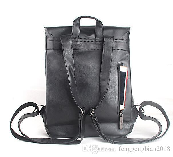 Retro men and women PU leather casual backpack simple trend men's shoulder bag high school student college wind Korean school bag