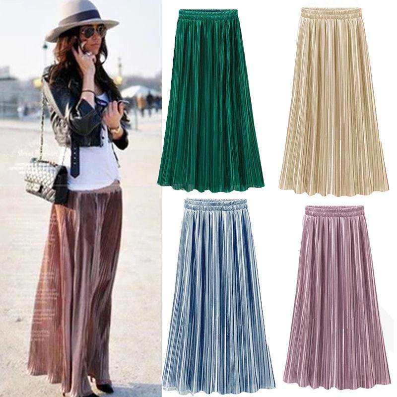 ada8bee02f 2019 Fashion Women Double Layer Pleated Long Skirts Elastic Waist Solid  Laides Casual Beach Skirt From Lin_and_zhang, $15.29 | DHgate.Com
