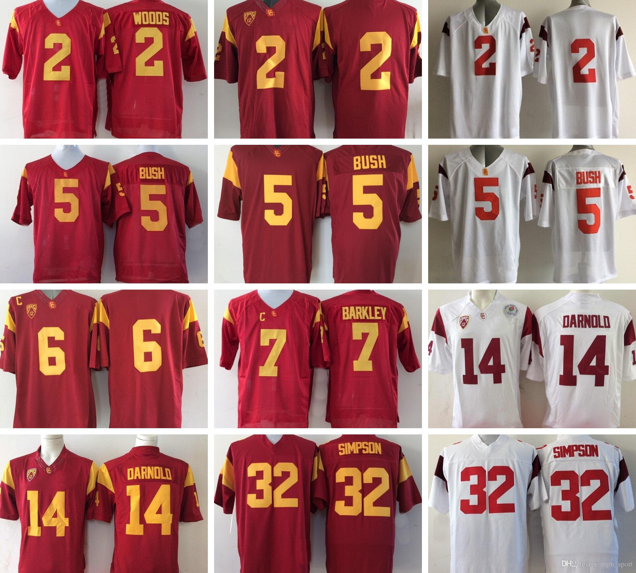 NCAA USC Trojans 2 Robert Woods 5 Bush 6 Cody Kessler 7 Matt Barkley 14 Sam  Darnold OJ Simpson Mens College Football Jerseys 2 Robert Woods 5 Bush USC  ... cedbfe882
