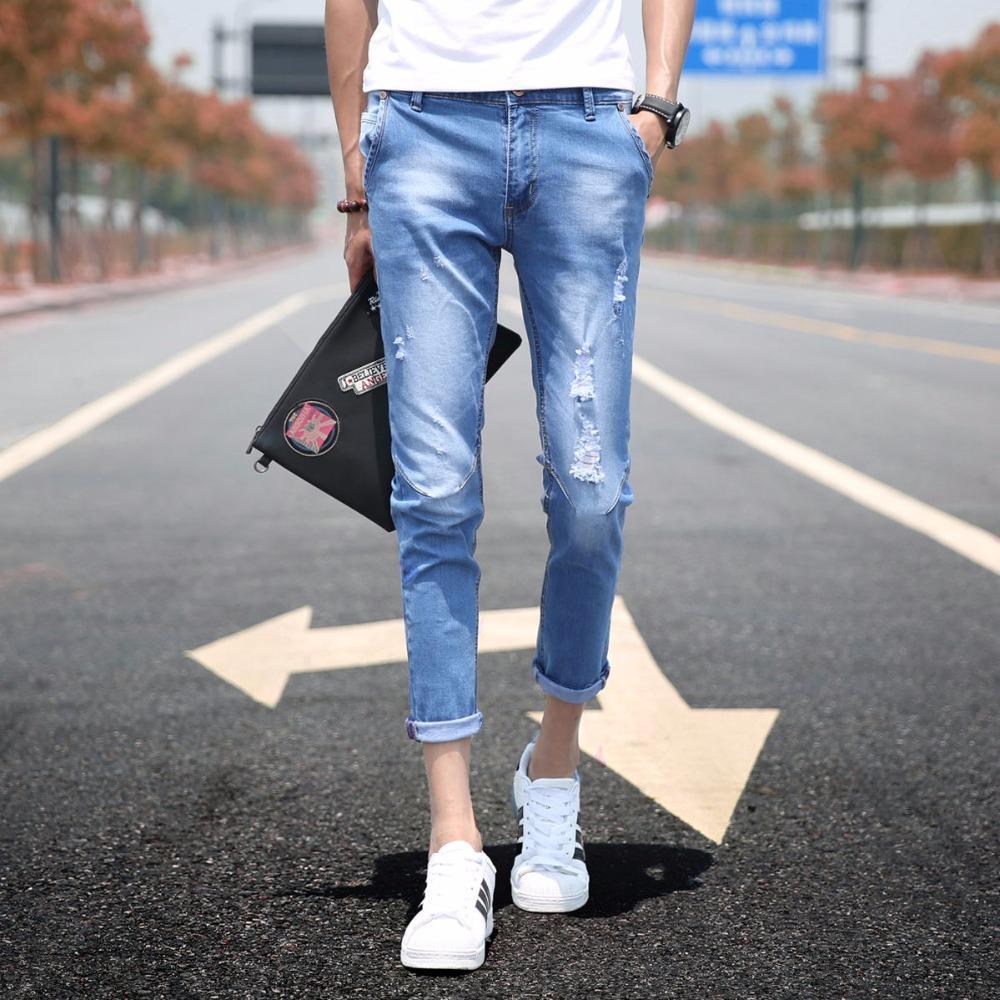 Compre Pantalones Vaqueros Para Hombre Pantalones Elásticos Nueve  Pantalones Desgastados Diseño Rayado Rasgado Pantalones Para Hombre  Pantalones Vaqueros A ... b507bc3ee65
