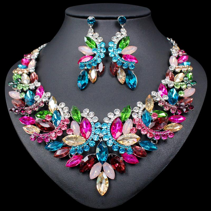 df760f8e26d 2019 Fashion Big Crystal Statement Necklace Earrings Set Indian Bridal  Jewelry Sets For Brides Wedding Party Costume Jewellery Women From Hiramee