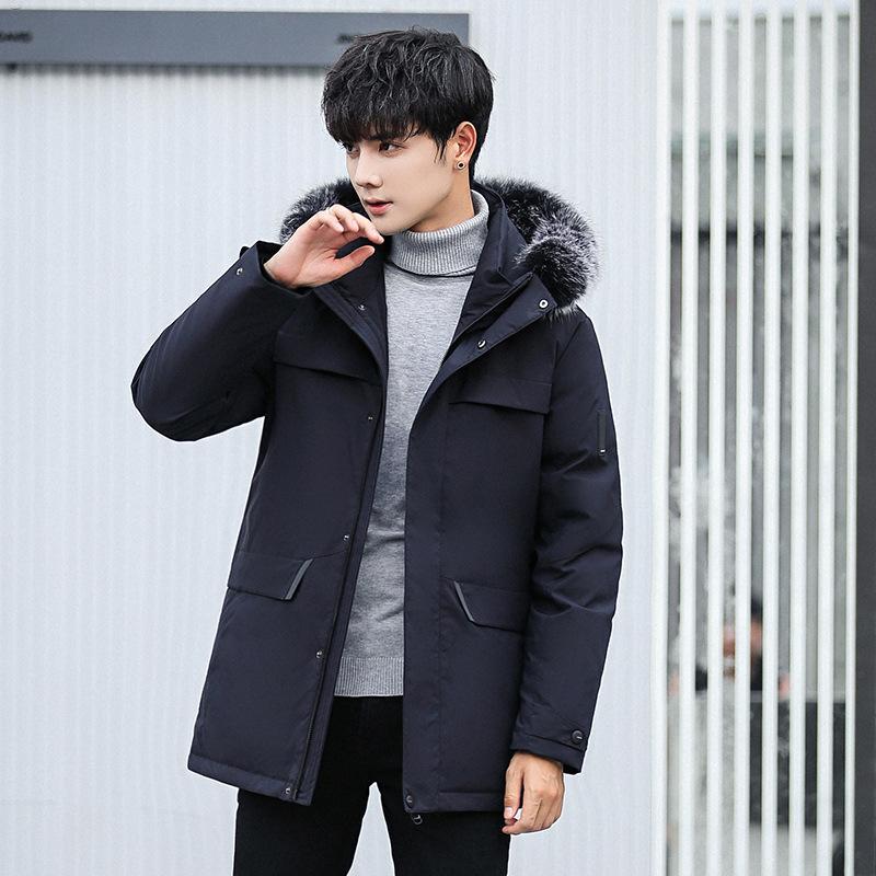 935851a14 Estilo coreano Hombres Slim Fit Abrigo Abrigos de cremallera de bolsillo  Casual para hombre con capucha Outwear Invierno Gruesa Chaqueta de abrigo  ...
