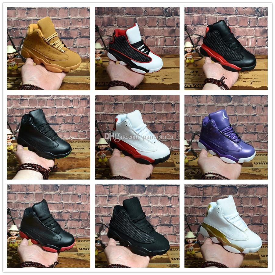 newest 592ce 849e0 Acheter Nike Air Jordan Aj13 Enfants Baskets 13 Chaussures De Basket Ball  2018 Pour Garçons Filles Noir Blanc Pas Cher XIII Vente Enfants Grand  Garçon Fille ...