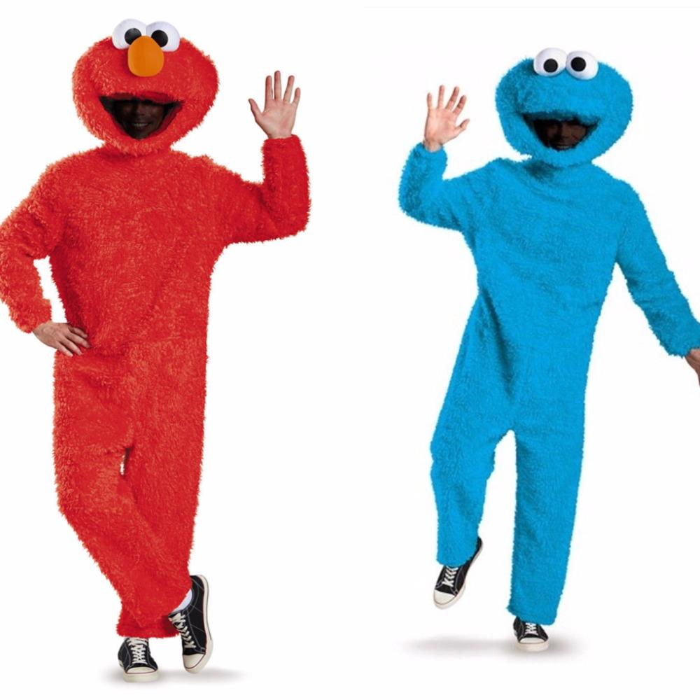 sesame street cookie monster adult costume halloween plush jumpsuit