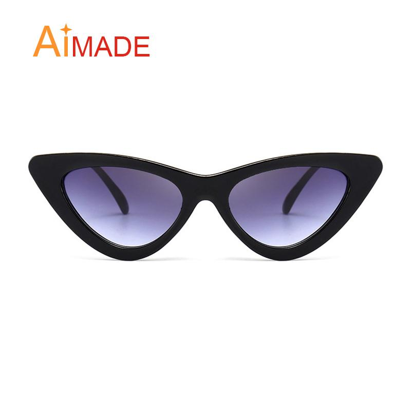 3e6c1734e01b Aimade 2018 Fashion Clear Lens Small Cat Eye Sunglasses Women Vintage Black  White E Cateye Sun Glasses For Female UV400 Boots Sunglasses Tifosi  Sunglasses ...