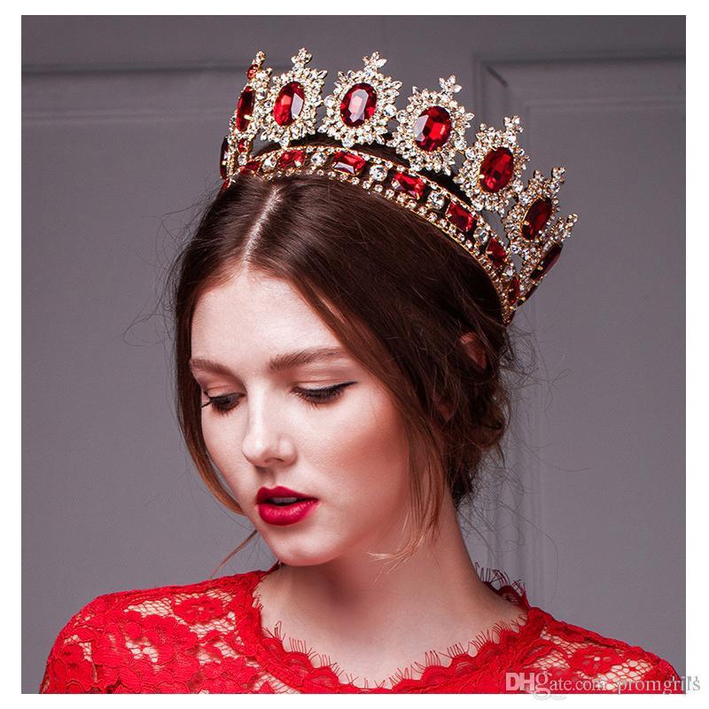 Estilo occidental Rojo Dimand Cristal Cabeza Joyería Princesa Reina Banquete de boda Accesorios para el cabello Sombrero Barroco Corona nupcial Tiaras y coronas