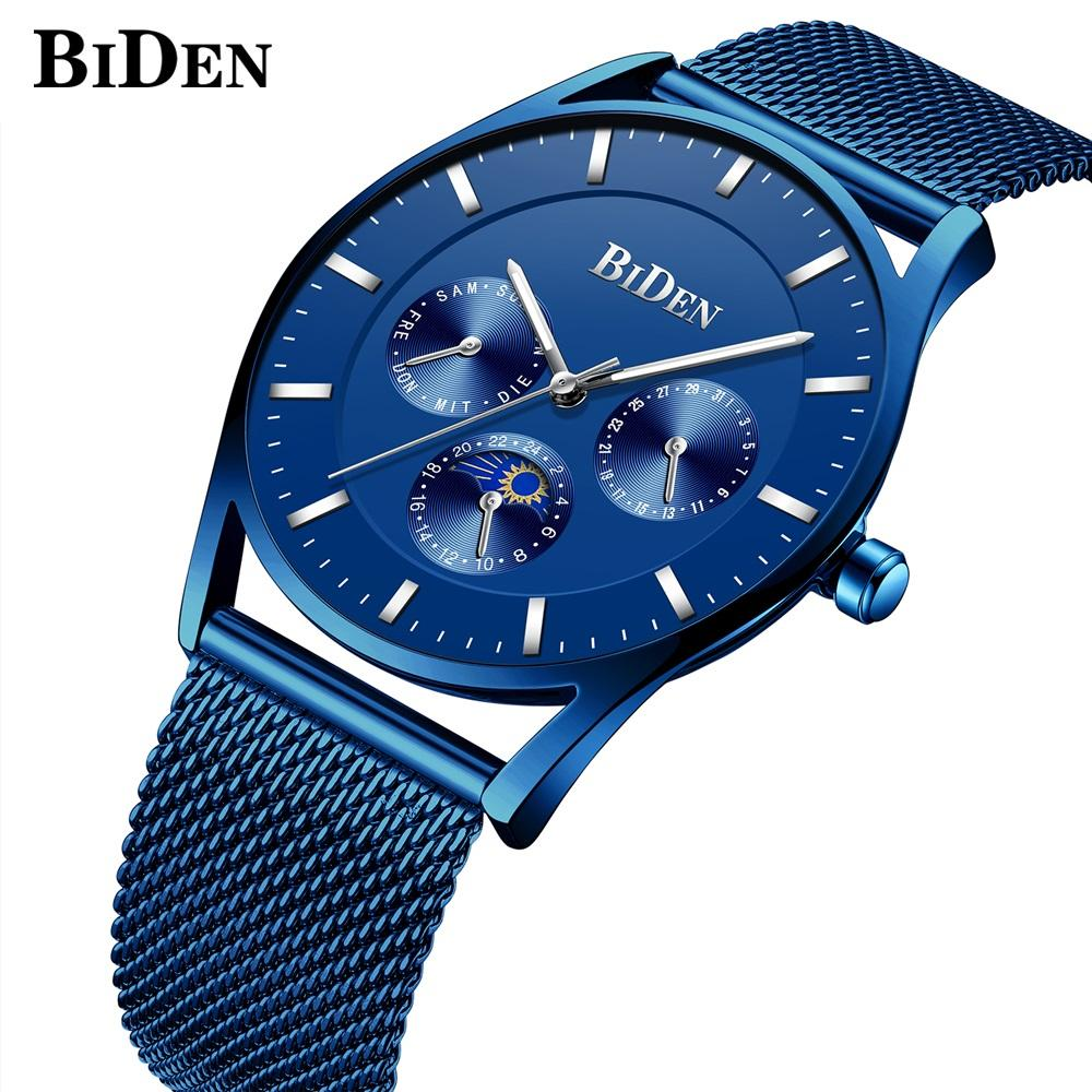 BIDEN Quartz Watches for Men Waterproof Date Moon Phase Wrist watches Top  Blue Men Clock Sports  Watch