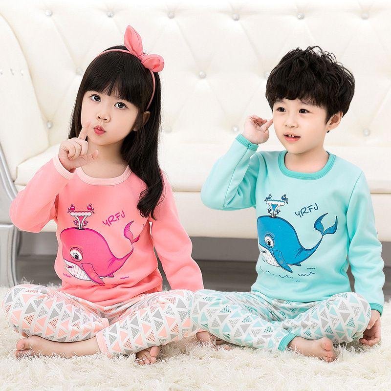 a89fbcaad Spring Winter Warm Kids Pajamas Cotton Print Long Sleeve T Shirt+ ...