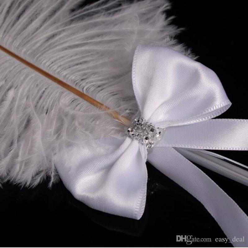 Bowknot Wedding Signing Pen Stainless Steel White Ostrich Feather Pen with Diamante 42cm Party Decoration ZA6216