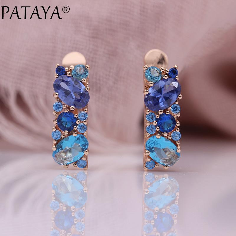 bc2847ed6 2019 PATAYA New Mix Blue Earrings For Women Fashion Wedding Fine Noble  Jewelry 585 Rose Gold Round Oval Natural Zircon Dangle Earring From  Haoyunduo, ...