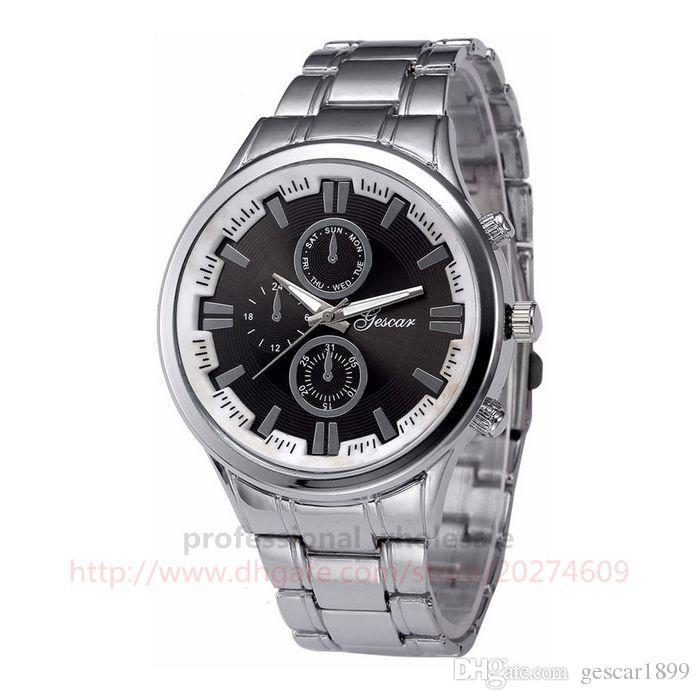 Gescar Men Watch High Quality Luxury Design Stainless Steel Male Watch Digital Dial Wristwatch For Men