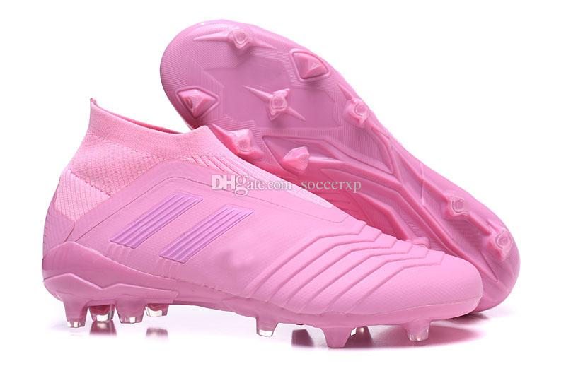 New High Top Soccer Shoes Predator 18+X Pogba FG Cleats Women Pink Girl  Series Top Compiltd Waterproofw No Tie Football Boots UK 2019 From  Soccerxp c6e49bd04