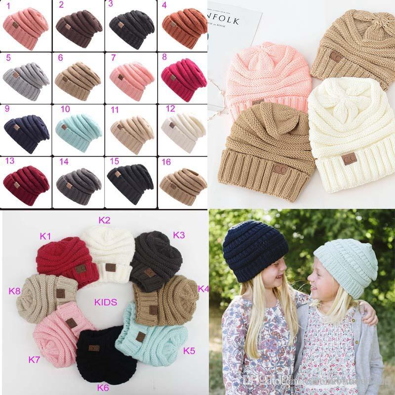 767e9b63af4 Parents Kids Cc Family Match Hats Mom Kids Winter Knitted Beanie CC ...