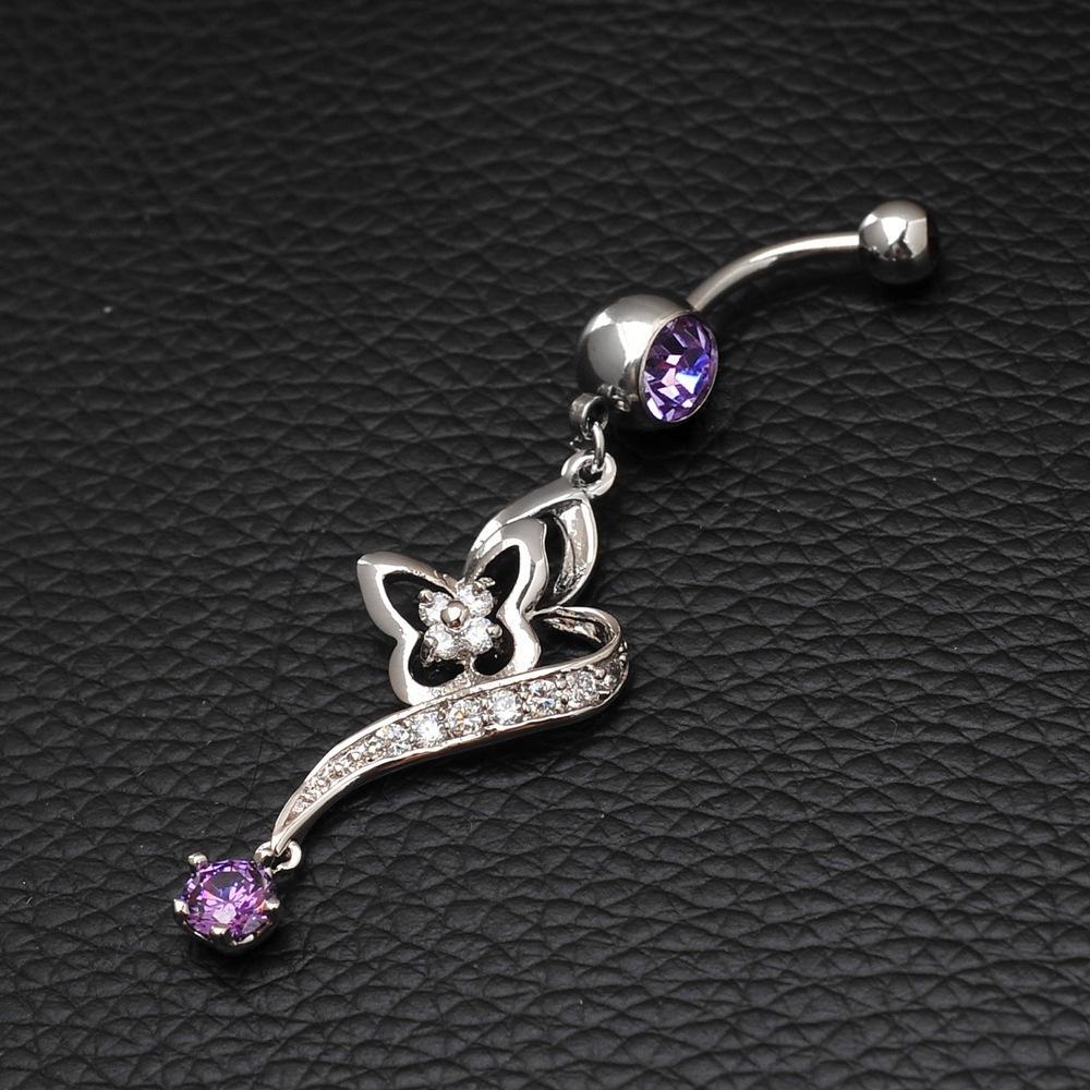 2017 acciaio inossidabile viola zircone fiore oro-colore piercing ombelico anelli ombelico percing nombril gioielli corpo pancia