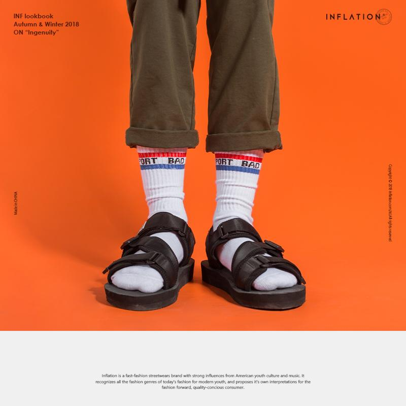 732a29b58c1412 2019 INFLATION New Fashion Men S Socks Long Crew Cotton Hip Hop Cool  Skateboard Men S Socks Letter Harajuku 929AI2018 From Candycloth