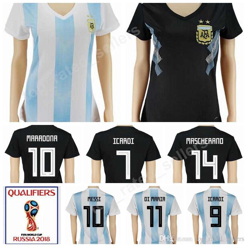 28065eb012e Argentina 10 Lionel Messi Women Soccer Jerseys 2018 World Cup 21 Paulo  Dybala 6 Lucas Biglia 1 Sergio Romero Argentine Woman Football Shirt