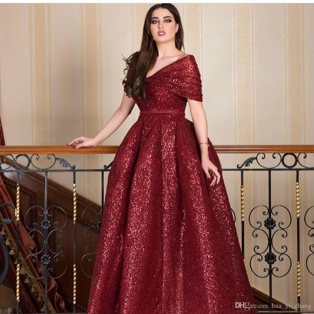 2018 Bling Bal Robes De Bal Robes Col En V Avec Puffy Ruching Off Épaule Longueur De Plancher Custom Made Ceinture Arabe Dubai Soirée Formelle Robes