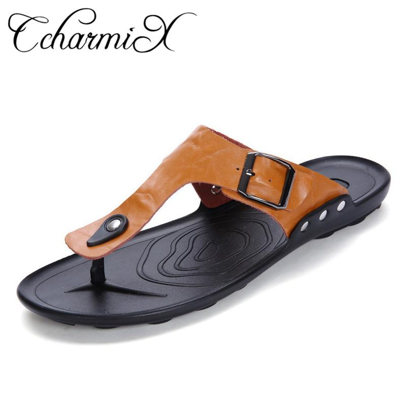 fcf7ea1e52fa28 CcharmiX Brand Big Size Cowhide Mens Slippers Summer Outdoor Beach Male  Flip Flops 2018 Fashion Luxury Leather Slipony Men Slide Shoes Uk Platform  Boots ...