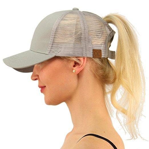 Ponytail Baseball Cap Women Snapback Hat Summer Messy Bun Mesh Hats ... e42f6877604