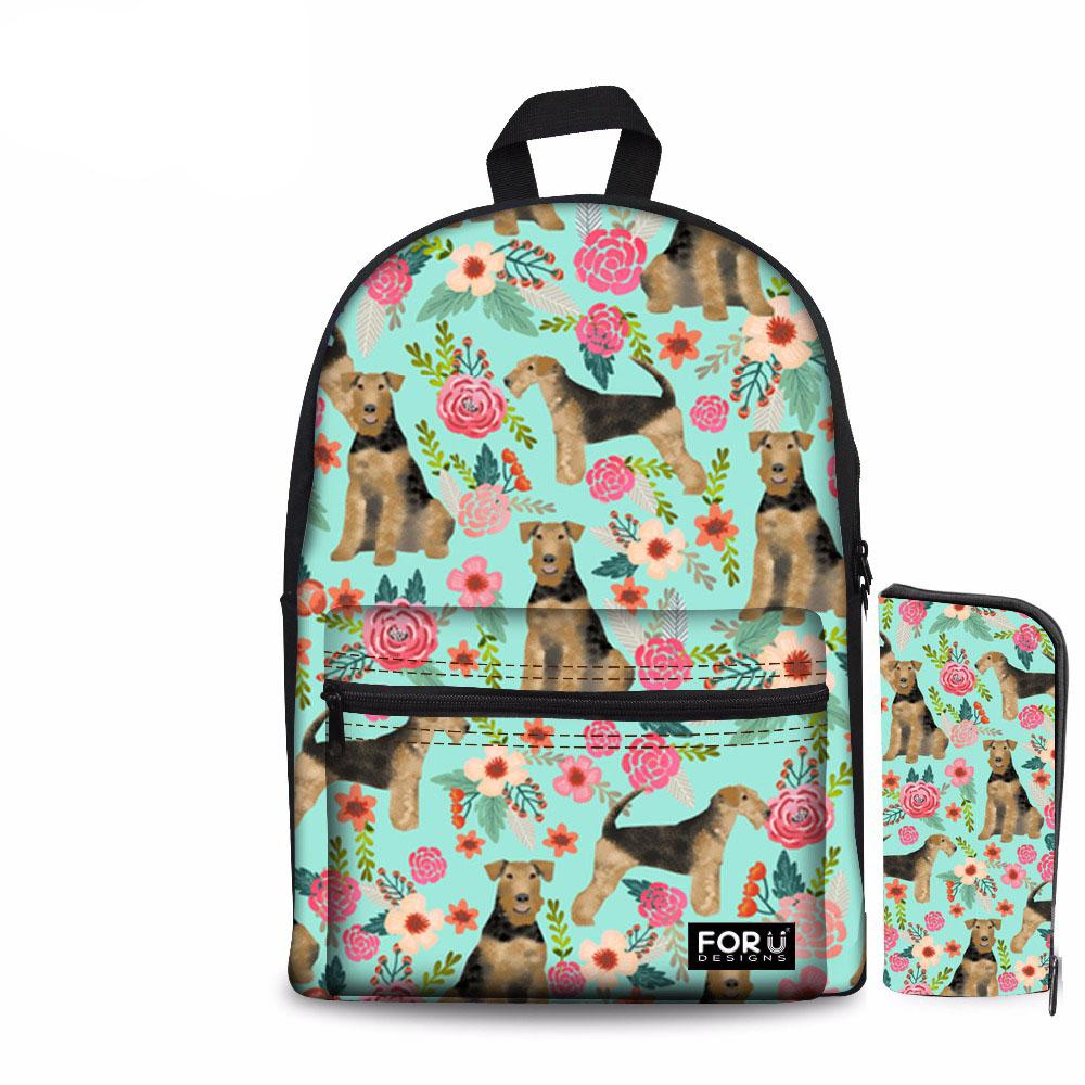 Noisydesigns Animal Dog Print Girls Backpack School Bag With Pencil ... 845d4d5b8f056