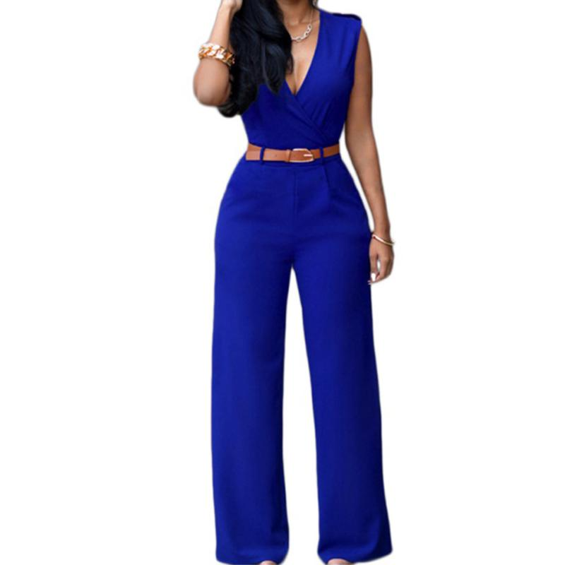 5788541c2d5 2019 ROPALIA Summer Women V Neck Wide Leg Pants Jumpsuits Solid Color High  Waist Sleeveless With Belt Sexy Bodysuit Y6 From Stripe