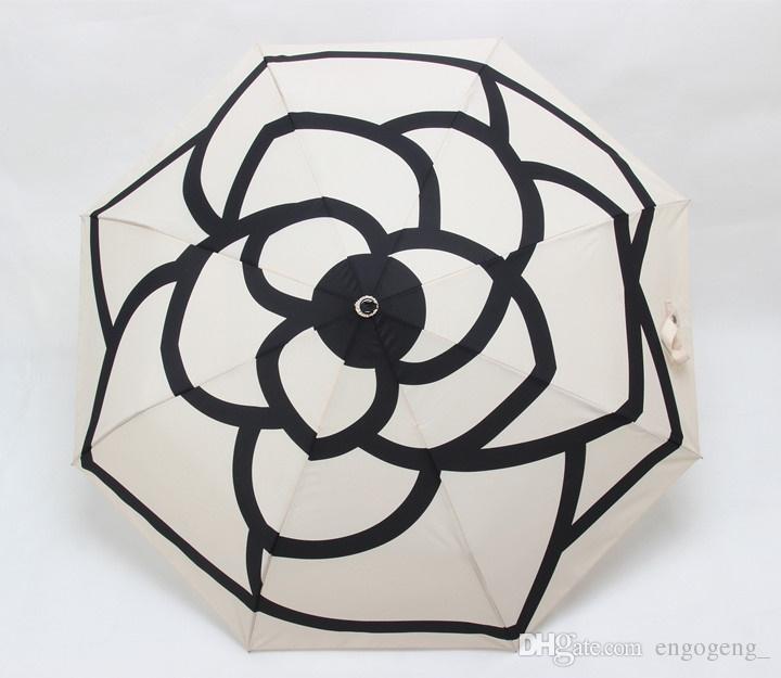 Luxe classique motif Camellia Fleur logo Parapluie Pour Femmes 3 Fois Luxe Parapluie Avec Cadeau boîte Et Sac Pluie Parapluie VIP cadeau