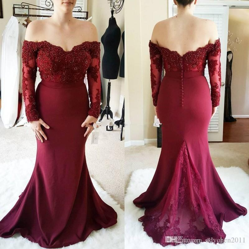 Long Sleeve Burgundy Evening Dresses 2018 Off The Shoulder Lace Applique  Sequins Buttons Back Mermaid Bridesmaid Formal Evening Prom Gowns Pictures  Of ... 727fcddc4