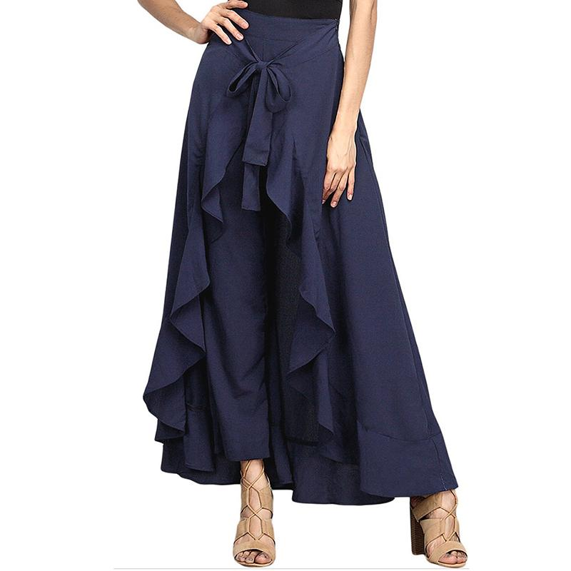 60233658c4656 2019 Women Cotton New Wide Leg Pants Fashion Plus Size Solid Drawstring  Lace Up Women Skirt Pant Loose Long Autumn Trousers From Qinfeng06