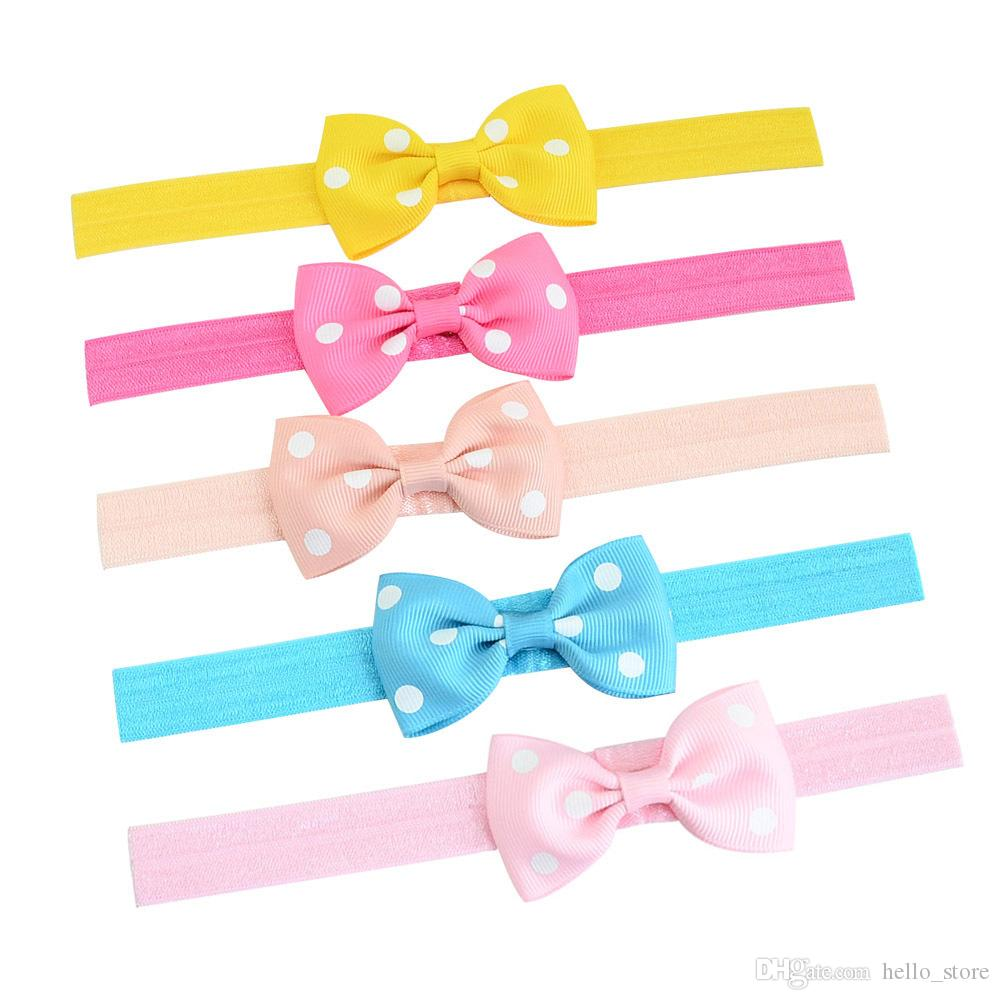 Handmade kids bowknot hair accessories Headwear Girls Headbands Bow Hair Accessories trendy boutique Baby Grosgrain bow wholesale