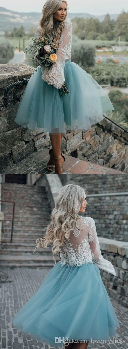 2018 Beautiful Knee Length Dresses Evening Party Wear A line Tulle Illusion Long Sleeve Hollow Back Lace Short Prom Homecoming Dress Gowns