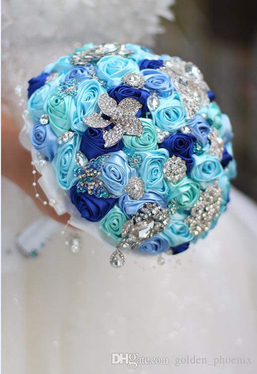 High-end custom wedding bridal DIY brooch silk rose pearl brides bridesmaid holding flowers