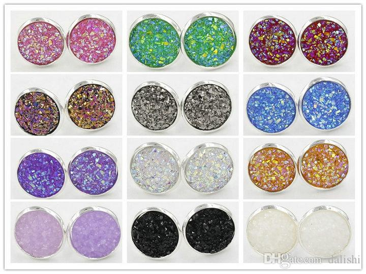 12mm Womens Resin Druzy Crystals Gem 925 Silver Plated Color Stud Bling Earrings Jewelry Gift