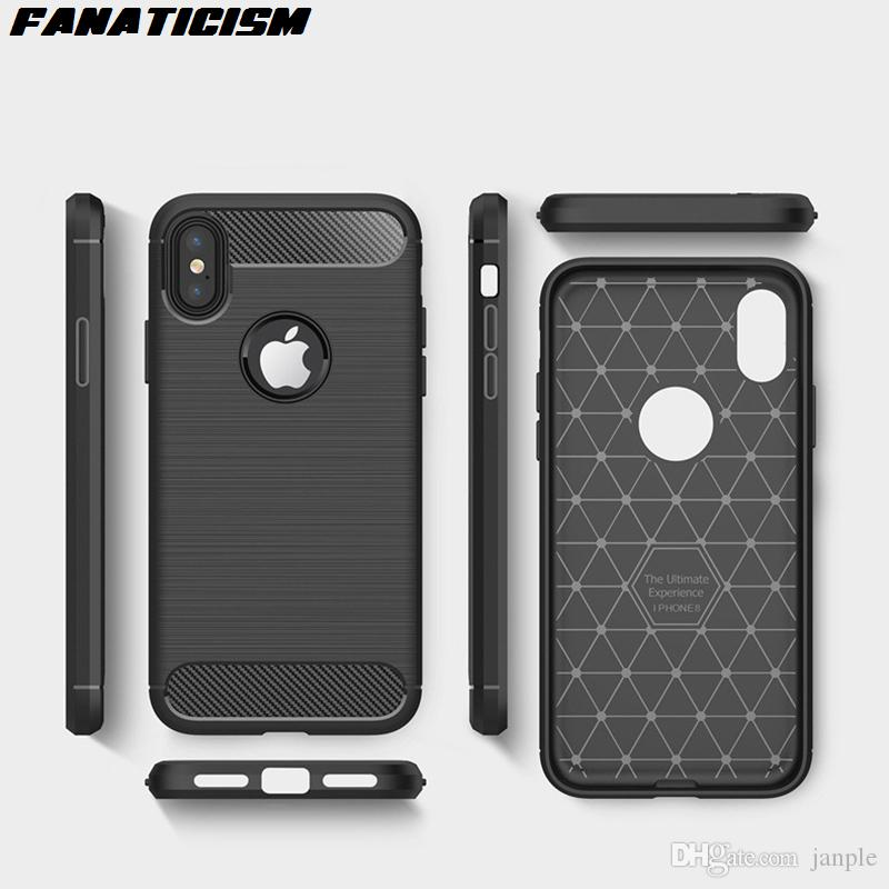 Rugged Armor Carbon Fiber Brush-Finish Soft TPU Silicone Phone Cover Case For iphone XR X XS Max 5s SE 6s 7 8 Plus