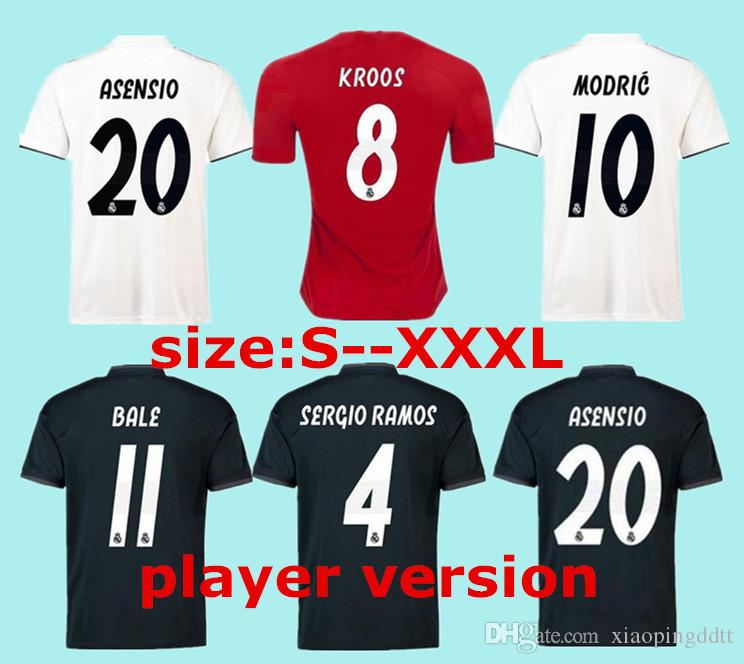 2019 2019 Player Version Home White Real Madrid Soccer Jerseys 18 19 Away  Soccer Shirt BALE 3rd Red Football Uniforms ASENSIO ISCO Size S 3XL From ... f13a08011