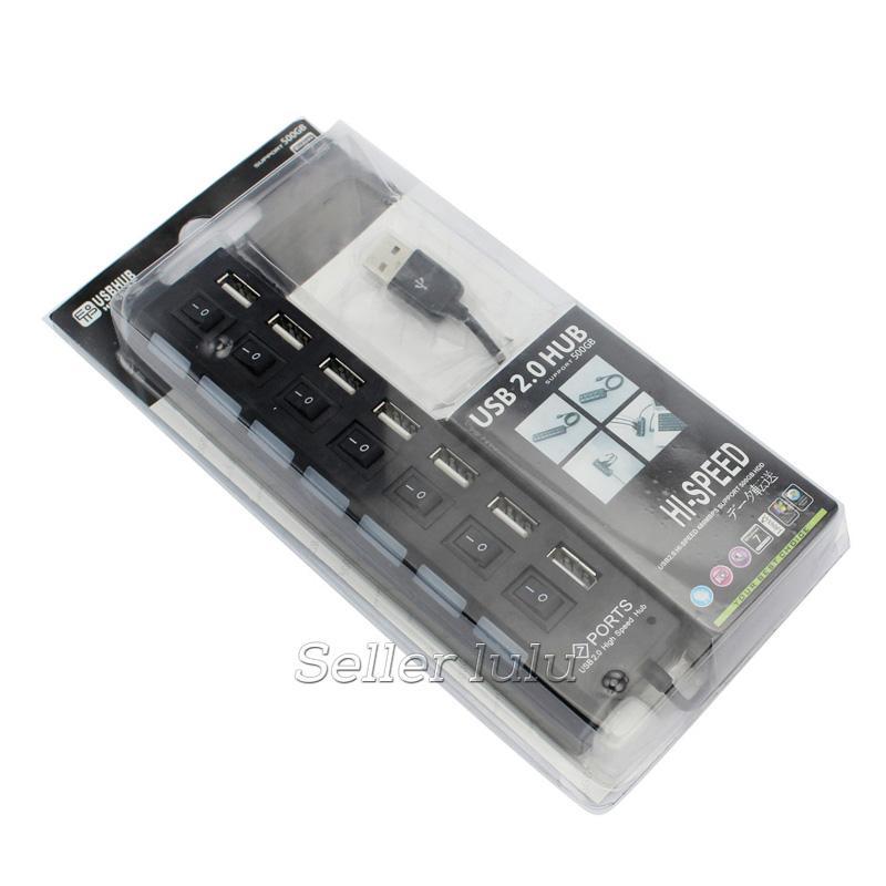 Multi LED 7 Portas Hub USB 2.0 de Alta Velocidade de 480 Mbps Hub USB On / Off Interruptor USB Portátil Splitter Periféricos Acessórios Para Computador
