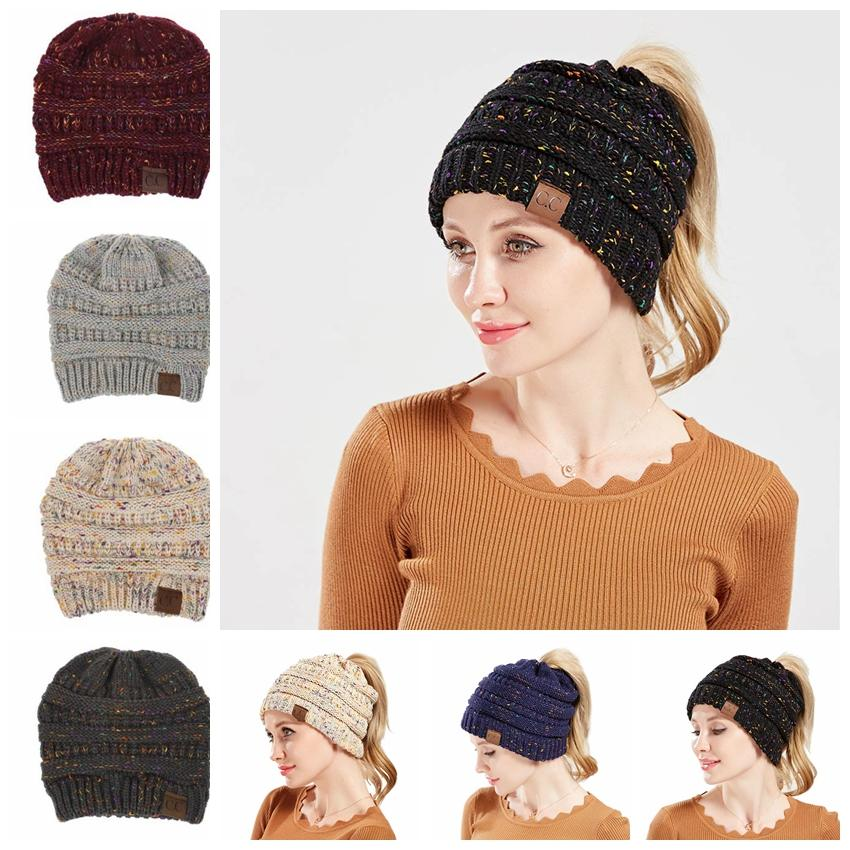 2018 Cc Ponytail Beanie Hat For Big Kids Women Winter Cap Knitted Skullies  Beanies Warm Cps Female Knitted Wool Cap Warm Hole Hat Kka5736 From ... f85238b2cd2