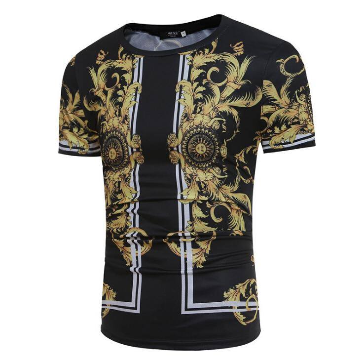 13088d4a985 Summer Mens Black T-shirt Dragon Totem Printing Fashion Casual Short ...