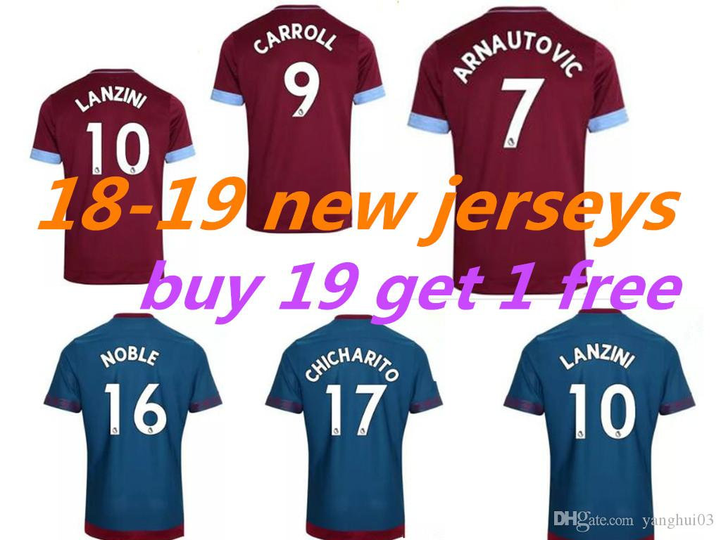 41d5143f8b5 2018 2019 West Ham United Football Jersey Arnautovic Lanzini ...