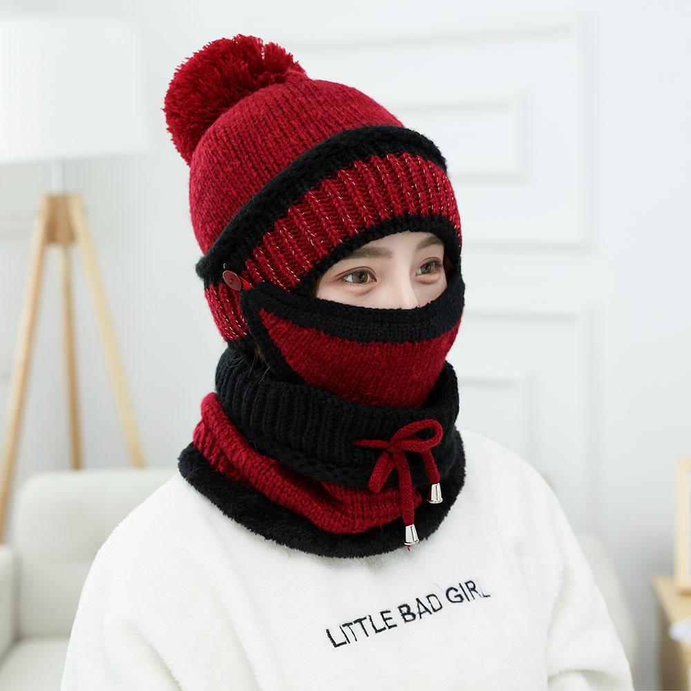 Acheter WELOVCHO 2018 11.11 Jours Nouvelle Corée Femmes Bonnets D hiver  Tricotés Chapeaux Collier Masques Foulard Chapeau Ensembles Pour Femmes  Dames Filles ... 3fa1de44e45
