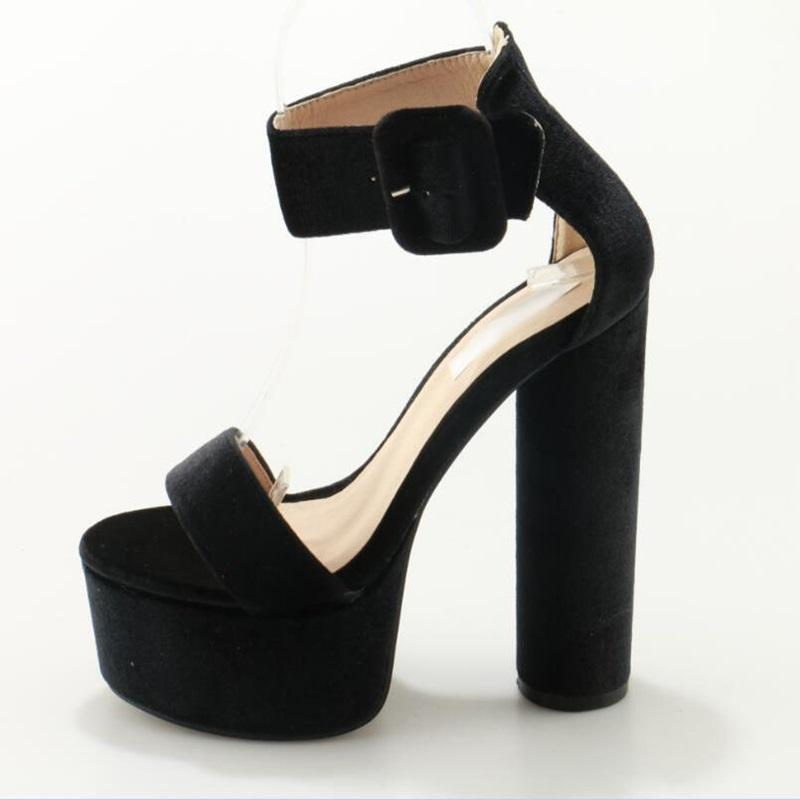 af3e00853 Stylish Black Waterproof Platform Round Heel Sandals Woman Buckle Strap  Normal Size Basic Shoes Summer Dress Party Ladies Shoes Flat Shoes Wedge  Shoes From ...